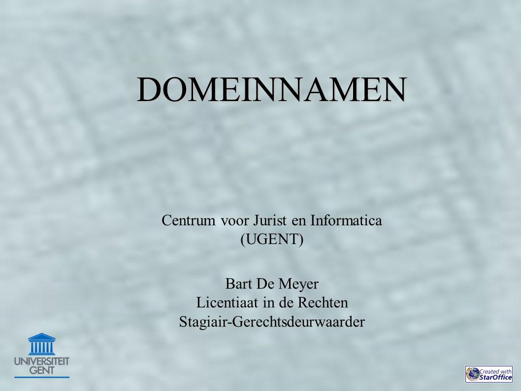 Centrum voor Jurist en Informatica (UGENT) Bart De Meyer Licentiaat in de Rechten Stagiair-Gerechtsdeurwaarder DOMEINNAMEN