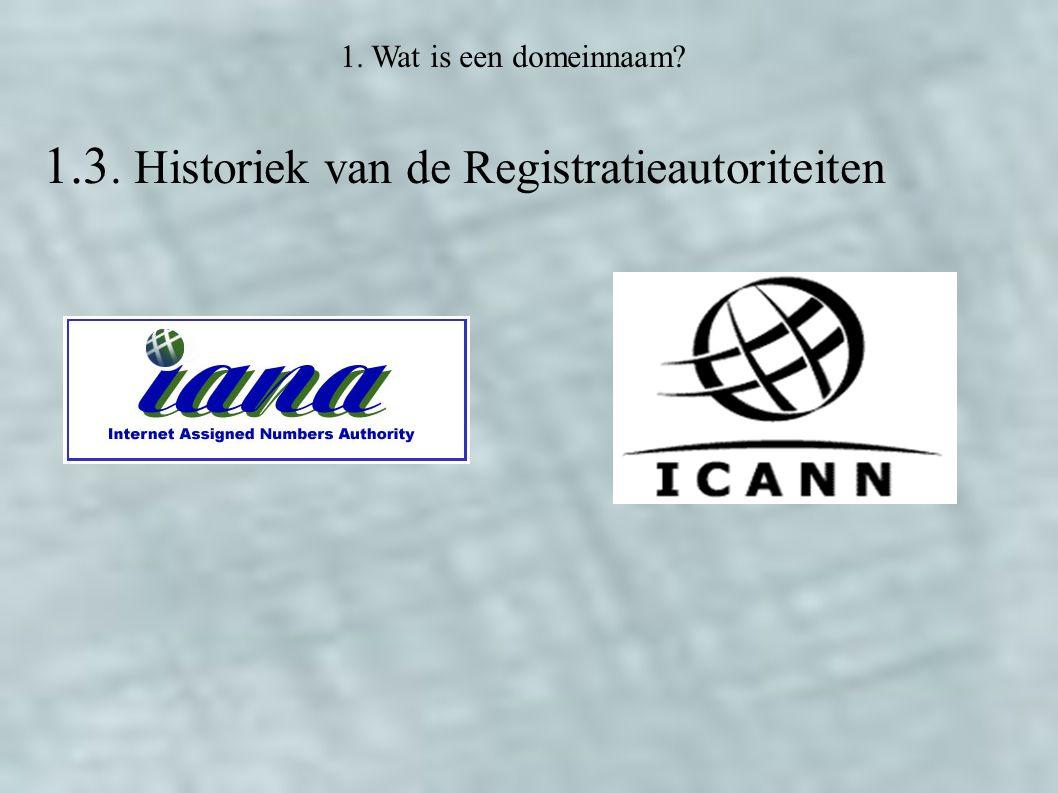 1.3. Historiek van de Registratieautoriteiten 1. Wat is een domeinnaam