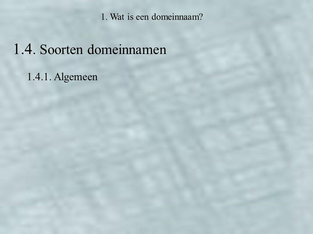 1.4. Soorten domeinnamen 1.4.1. Algemeen