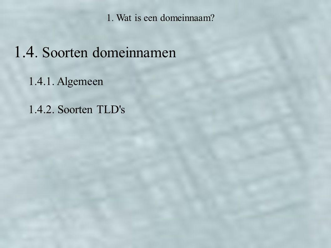 1. Wat is een domeinnaam 1.4. Soorten domeinnamen 1.4.1. Algemeen 1.4.2. Soorten TLD s