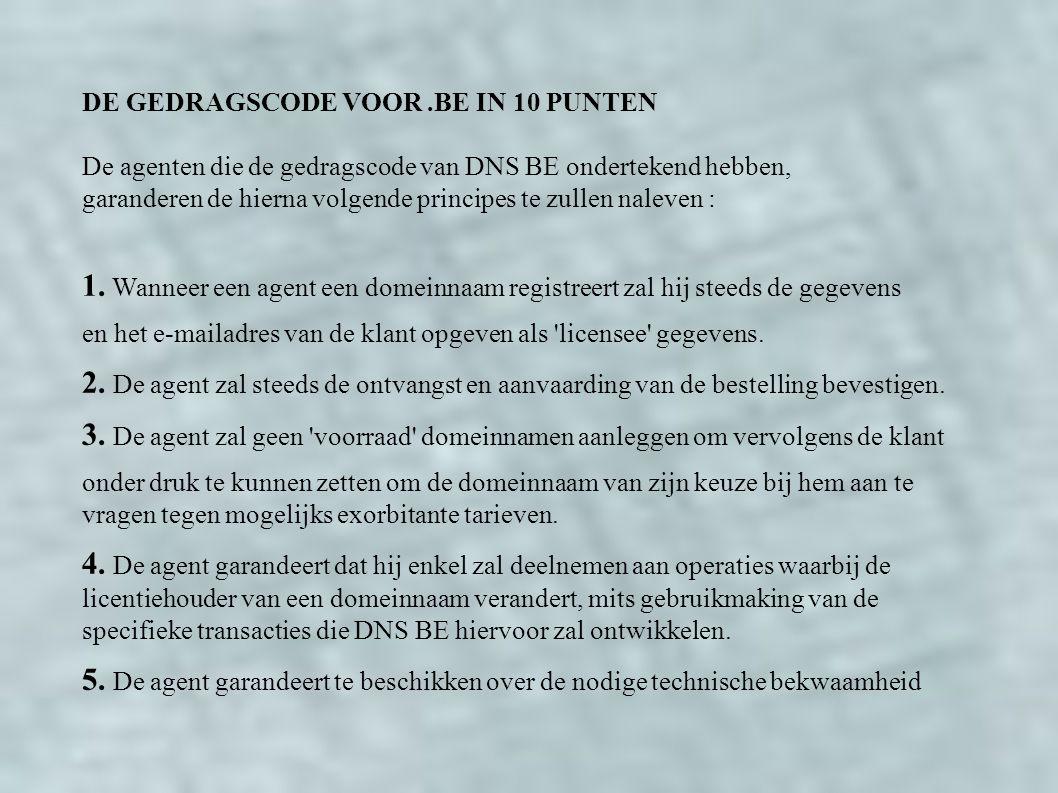 DE GEDRAGSCODE VOOR.BE IN 10 PUNTEN De agenten die de gedragscode van DNS BE ondertekend hebben, garanderen de hierna volgende principes te zullen naleven : 1.