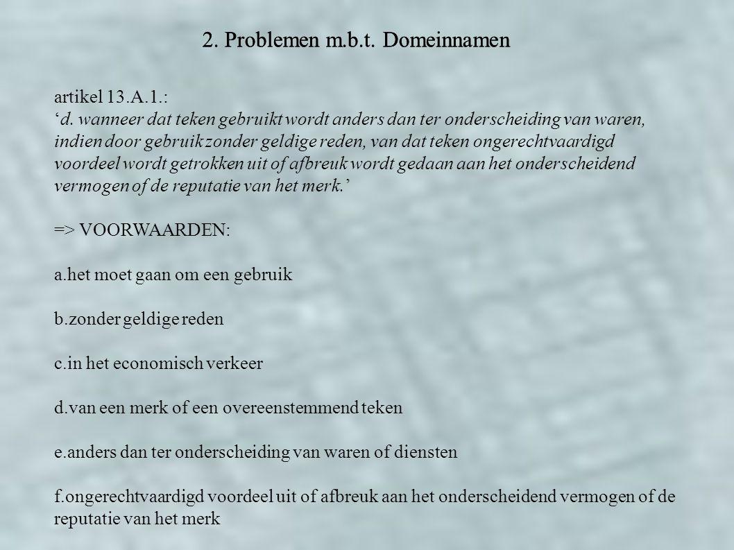 2. Problemen m.b.t. Domeinnamen artikel 13.A.1.: 'd. wanneer dat teken gebruikt wordt anders dan ter onderscheiding van waren, indien door gebruik zon