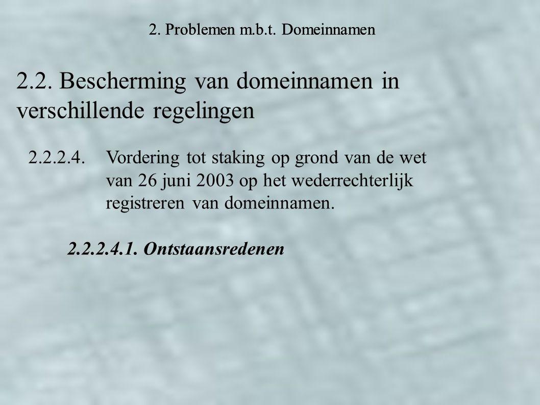 2. Problemen m.b.t. Domeinnamen 2.2.