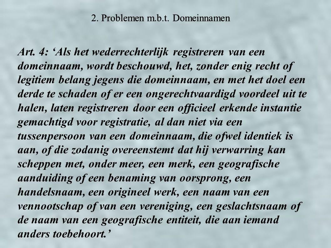 2. Problemen m.b.t. Domeinnamen Art.