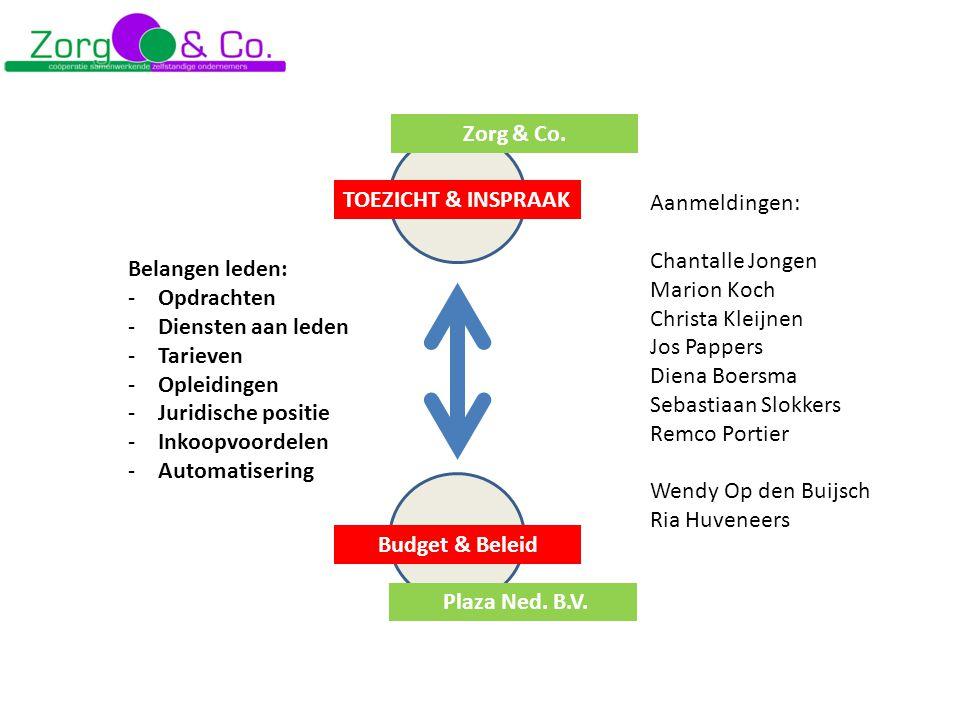 Belangen leden: -Opdrachten -Diensten aan leden -Tarieven -Opleidingen -Juridische positie -Inkoopvoordelen -Automatisering TOEZICHT & INSPRAAK Budget