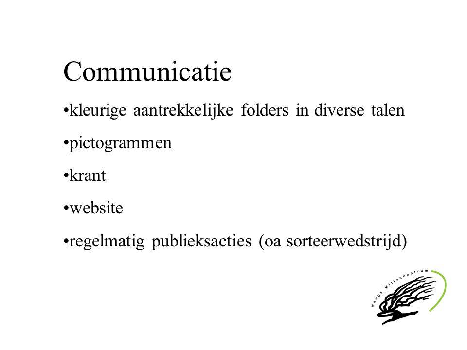 Communicatie kleurige aantrekkelijke folders in diverse talen pictogrammen krant website regelmatig publieksacties (oa sorteerwedstrijd)