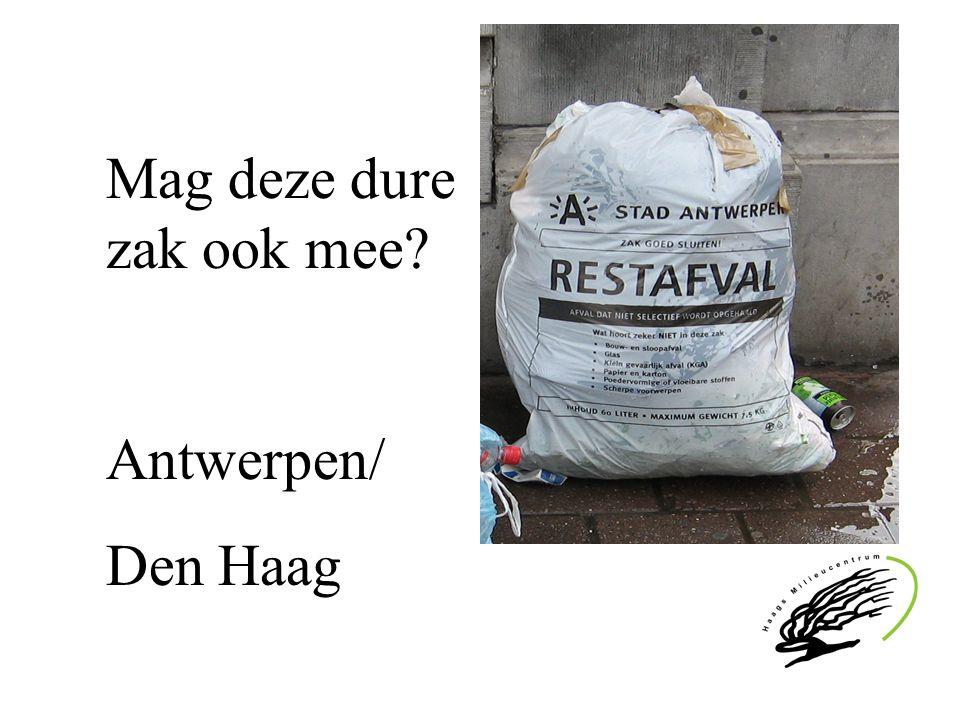 Afvalscheiding Den Haag en andere steden 2005 ( kg/ inw ) Den Haag/ R'dam/ Nijm./ Antwerpen gft9 24 96 86 papier20 28 68 71 glas 14 11 27 31 (bron Afval Overlegorgaan Senter Novem, stad Antwerpen)