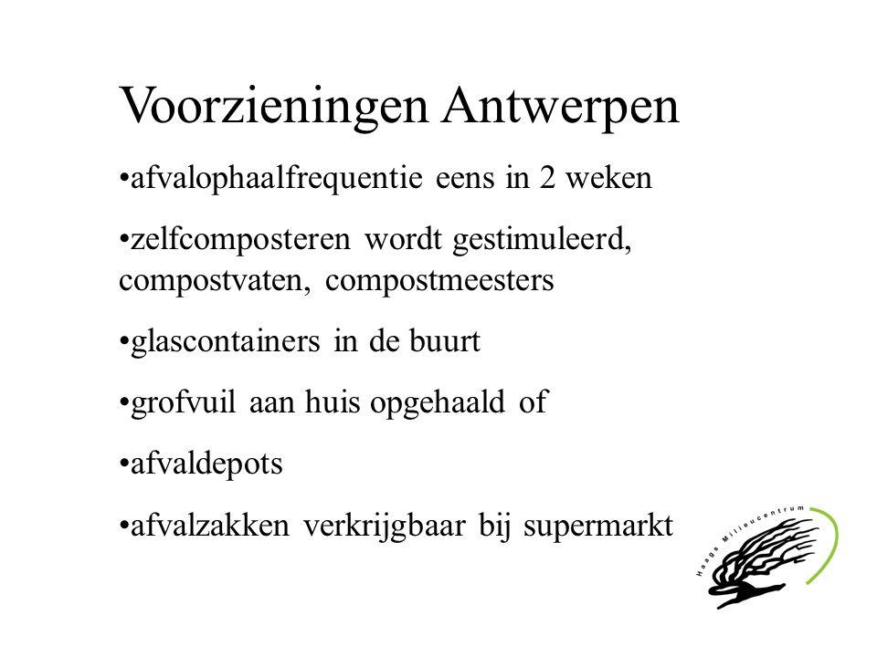 Voorzieningen Antwerpen afvalophaalfrequentie eens in 2 weken zelfcomposteren wordt gestimuleerd, compostvaten, compostmeesters glascontainers in de b