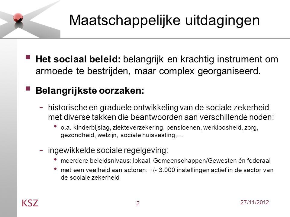 27/11/201213 Automatische toekenning  Actieve rol van de KSZ bij de veralgemening van de automatische toekenning van sociale rechten of aanvullende voordelen gebaseerd op het sociaal statuut.