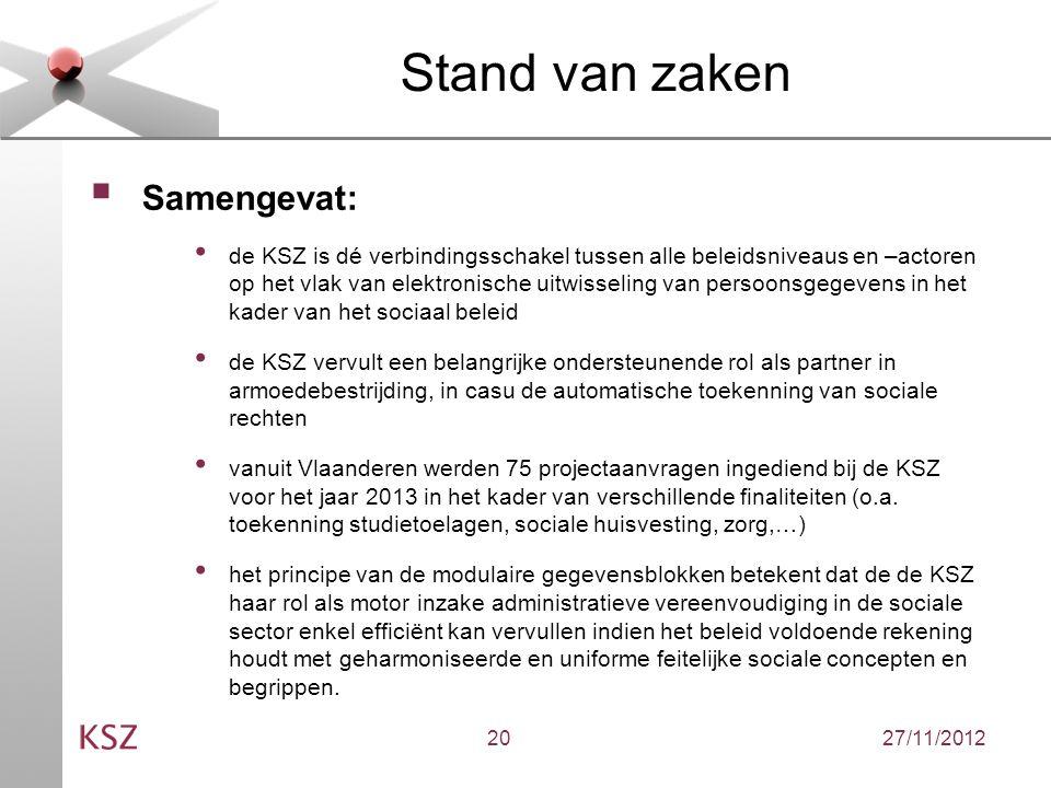 27/11/201220 Stand van zaken  Samengevat: de KSZ is dé verbindingsschakel tussen alle beleidsniveaus en –actoren op het vlak van elektronische uitwisseling van persoonsgegevens in het kader van het sociaal beleid de KSZ vervult een belangrijke ondersteunende rol als partner in armoedebestrijding, in casu de automatische toekenning van sociale rechten vanuit Vlaanderen werden 75 projectaanvragen ingediend bij de KSZ voor het jaar 2013 in het kader van verschillende finaliteiten (o.a.