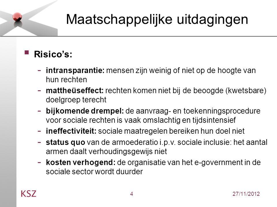 27/11/20124 Maatschappelijke uitdagingen  Risico's: - intransparantie: mensen zijn weinig of niet op de hoogte van hun rechten - mattheüseffect: rechten komen niet bij de beoogde (kwetsbare) doelgroep terecht - bijkomende drempel: de aanvraag- en toekenningsprocedure voor sociale rechten is vaak omslachtig en tijdsintensief - ineffectiviteit: sociale maatregelen bereiken hun doel niet - status quo van de armoederatio i.p.v.