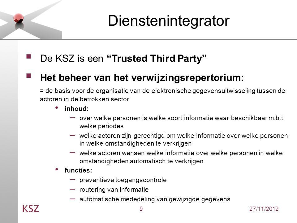 27/11/20129 Dienstenintegrator  De KSZ is een Trusted Third Party  Het beheer van het verwijzingsrepertorium: = de basis voor de organisatie van de elektronische gegevensuitwisseling tussen de actoren in de betrokken sector inhoud: – over welke personen is welke soort informatie waar beschikbaar m.b.t.