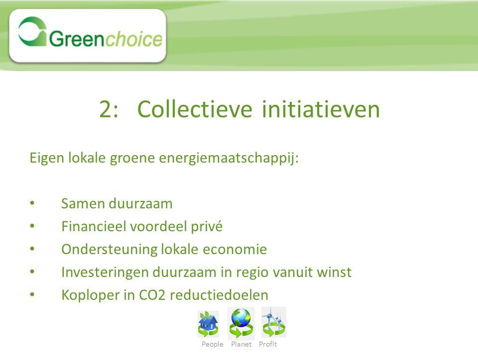 2: Collectieve initiatieven Eigen lokale groene energiemaatschappij: Samen duurzaam Financieel voordeel privé Ondersteuning lokale economie Investerin