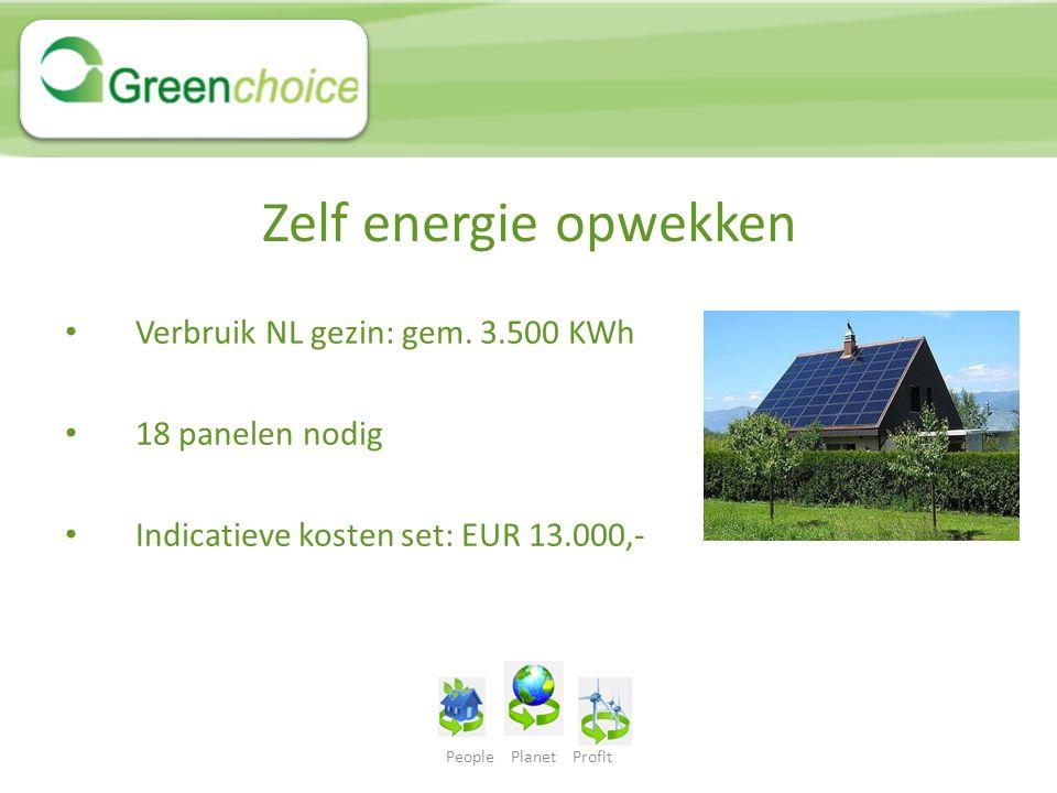 People Planet Profit Zelf energie opwekken Verbruik NL gezin: gem. 3.500 KWh 18 panelen nodig Indicatieve kosten set: EUR 13.000,-