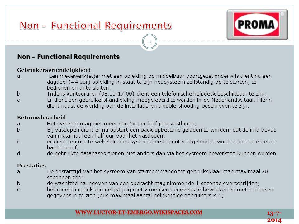 4 Non - Functional Requirements Onderhoud a.