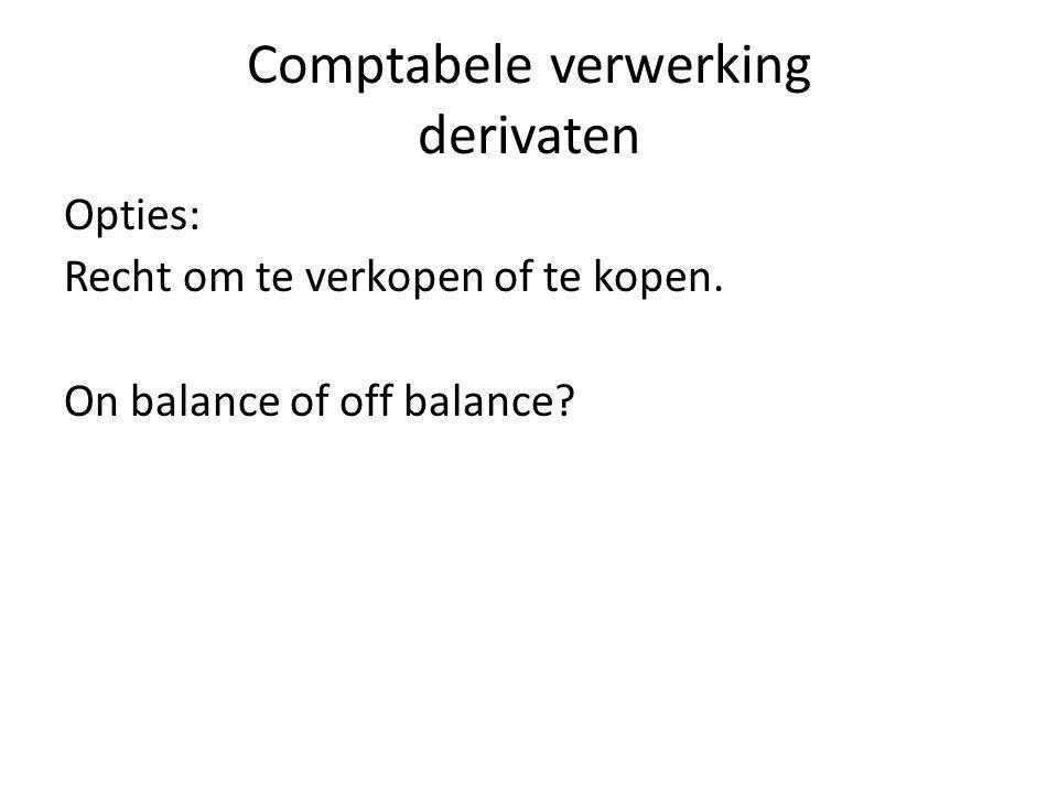 Comptabele verwerking derivaten Opties: Recht om te verkopen of te kopen. On balance of off balance?