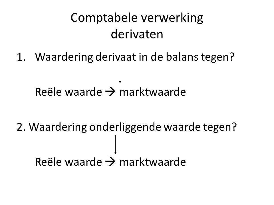 Comptabele verwerking derivaten 1.Waardering derivaat in de balans tegen? Reële waarde  marktwaarde 2. Waardering onderliggende waarde tegen? Reële w