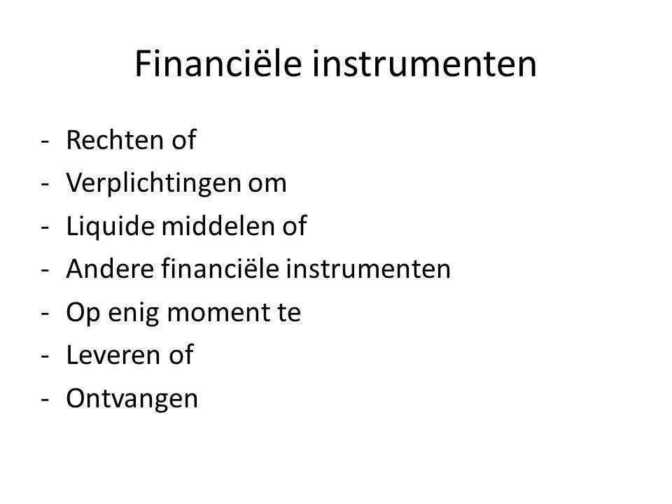 Financiële instrumenten -Rechten of -Verplichtingen om -Liquide middelen of -Andere financiële instrumenten -Op enig moment te -Leveren of -Ontvangen