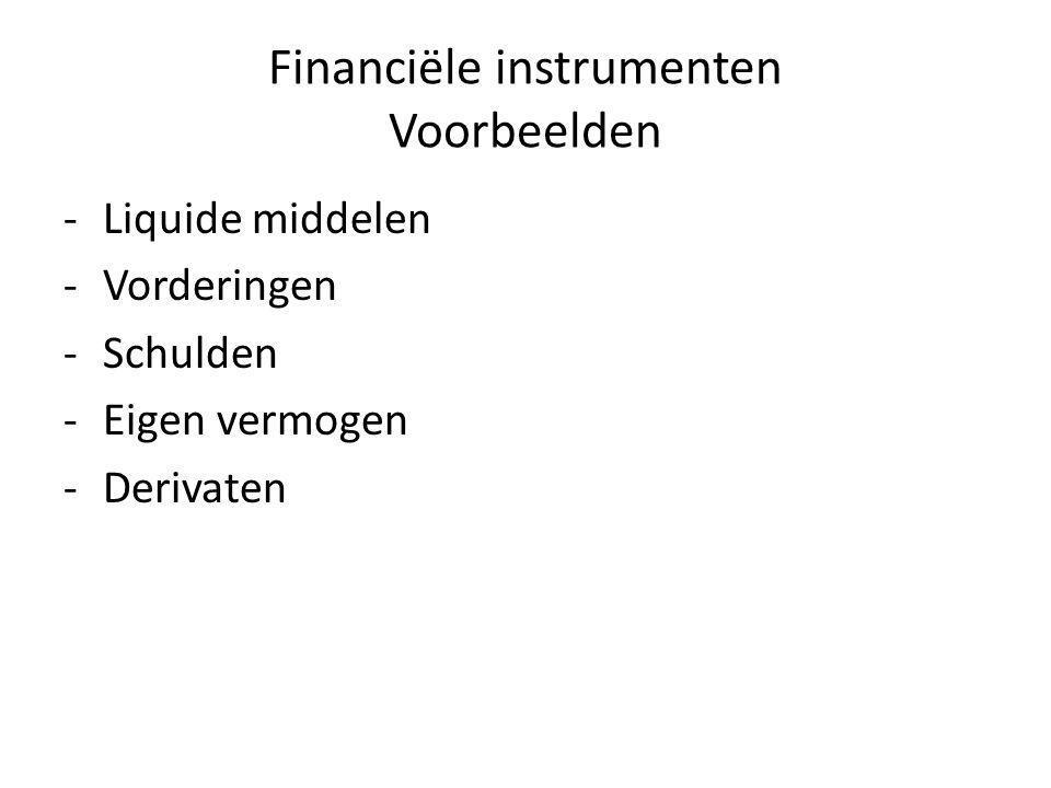 Financiële instrumenten Voorbeelden -Liquide middelen -Vorderingen -Schulden -Eigen vermogen -Derivaten
