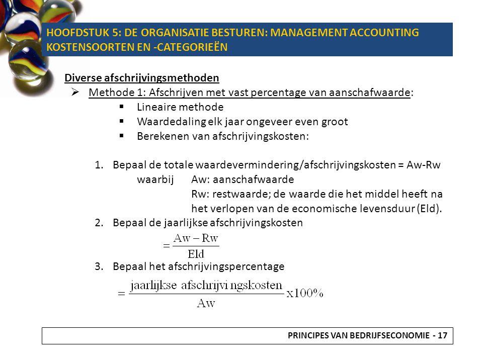 Diverse afschrijvingsmethoden  Methode 1: Afschrijven met vast percentage van aanschafwaarde:  Lineaire methode  Waardedaling elk jaar ongeveer eve