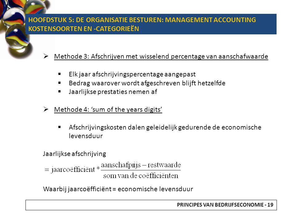  Methode 3: Afschrijven met wisselend percentage van aanschafwaarde  Elk jaar afschrijvingspercentage aangepast  Bedrag waarover wordt afgeschreven