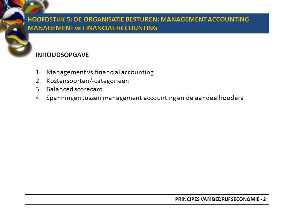 5.1 INLEIDING LEERDOELEN Weten wat management accounting inhoudt en wat het verschil is met financial accounting.