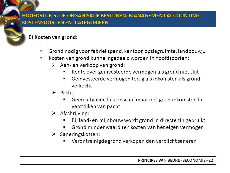 E) Kosten van grond: Grond nodig voor fabriekspand, kantoor, opslagruimte, landbouw,… Kosten van grond kunne ingedeeld worden in hoofdsoorten:  Aan-