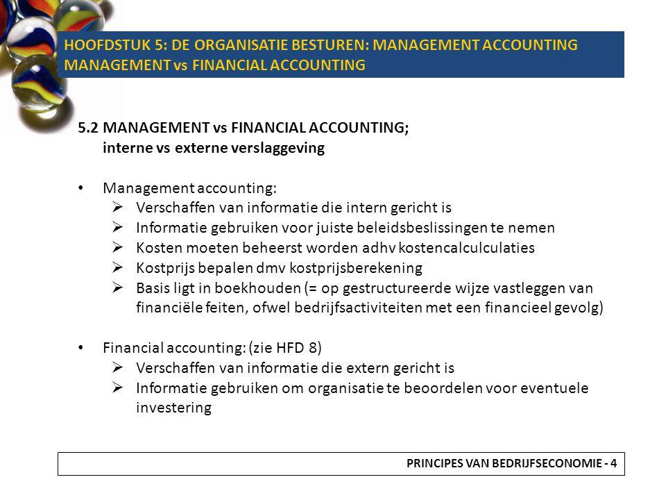 MANAGEMENT ACCOUNTING FINANCIAL ACCOUNTING DOELGROEPLEIDING EN MEDEWERKERSEXTERNE PARTIJEN (OVERHEID, INVESTEERDERS) DOELBESTUREN VAN DE ONDERNEMING DOOR KOSTENBEHEERSING BEOORDELING VAN DE FINANCIËLE SITUATIE FOCUSINTERNEXTERN SOORT INFORMATIE KOSTENOPBRENGSTEN BRONBOEKHOUDING HOOFDSTUK 5: DE ORGANISATIE BESTUREN: MANAGEMENT ACCOUNTING MANAGEMENT vs FINANCIAL ACCOUNTING PRINCIPES VAN BEDRIJFSECONOMIE - 5