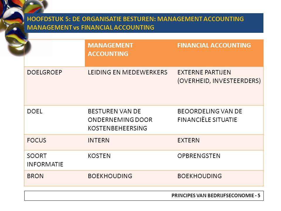 MANAGEMENT ACCOUNTING FINANCIAL ACCOUNTING DOELGROEPLEIDING EN MEDEWERKERSEXTERNE PARTIJEN (OVERHEID, INVESTEERDERS) DOELBESTUREN VAN DE ONDERNEMING D