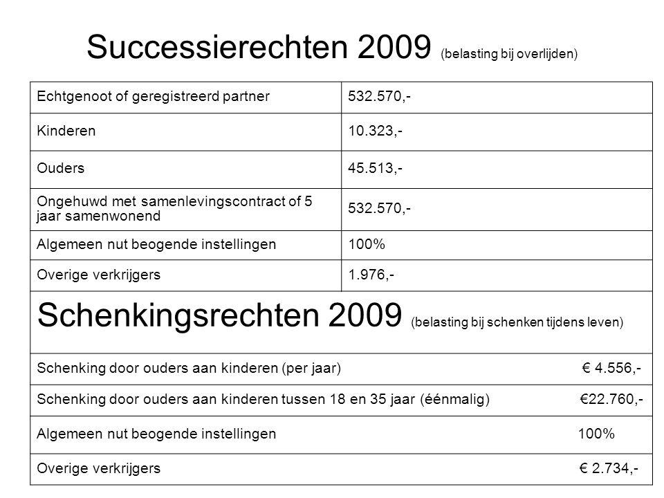 Successierechten 2009 (belasting bij overlijden) Echtgenoot of geregistreerd partner532.570,- Kinderen10.323,- Ouders45.513,- Ongehuwd met samenleving