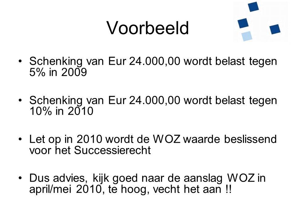 Voorbeeld Schenking van Eur 24.000,00 wordt belast tegen 5% in 2009 Schenking van Eur 24.000,00 wordt belast tegen 10% in 2010 Let op in 2010 wordt de