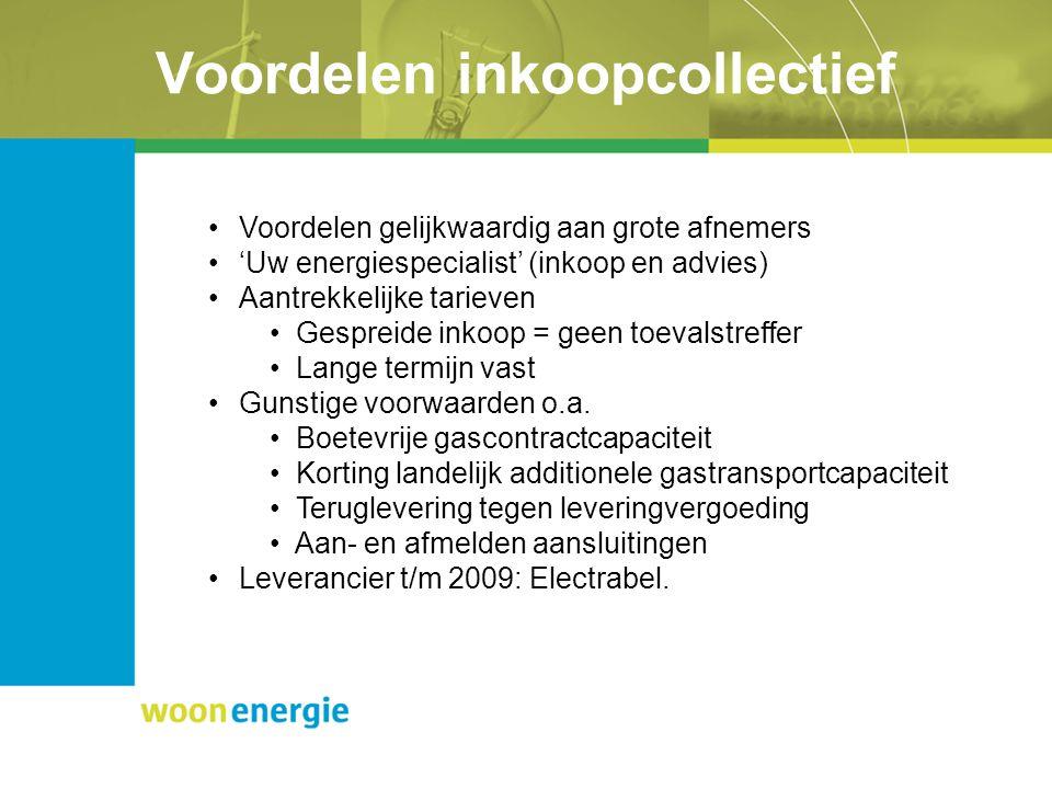 Voordelen inkoopcollectief Voordelen gelijkwaardig aan grote afnemers 'Uw energiespecialist' (inkoop en advies) Aantrekkelijke tarieven Gespreide inkoop = geen toevalstreffer Lange termijn vast Gunstige voorwaarden o.a.