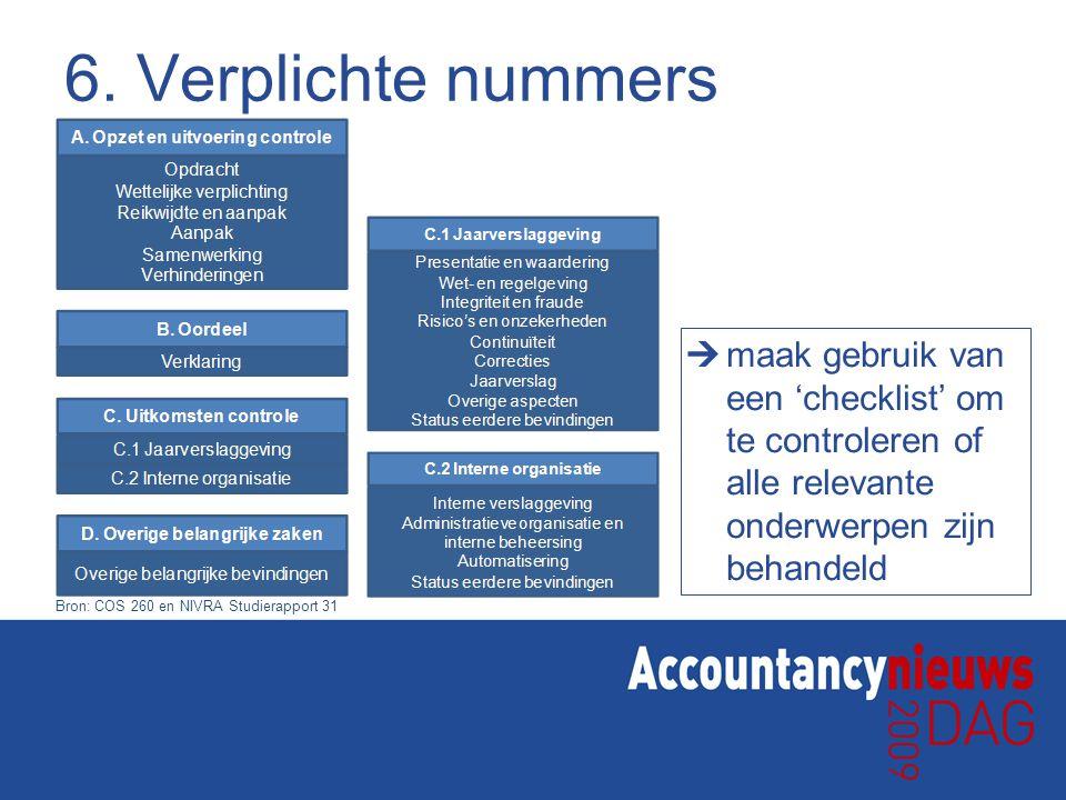 6. Verplichte nummers  maak gebruik van een 'checklist' om te controleren of alle relevante onderwerpen zijn behandeld Bron: COS 260 en NIVRA Studier
