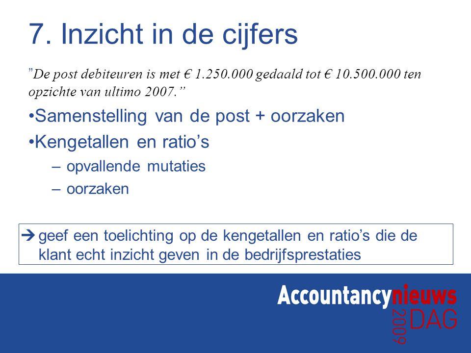 """7. Inzicht in de cijfers """" De post debiteuren is met € 1.250.000 gedaald tot € 10.500.000 ten opzichte van ultimo 2007."""" Samenstelling van de post + o"""