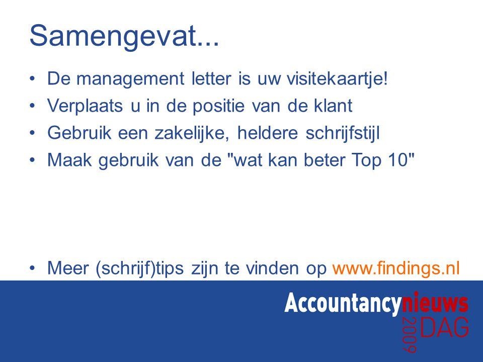 Samengevat... De management letter is uw visitekaartje! Verplaats u in de positie van de klant Gebruik een zakelijke, heldere schrijfstijl Maak gebrui