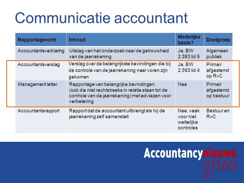 Communicatie accountant RapportagevormInhoud Wettelijke basis? Doelgroep AccountantsverklaringUitslag van het onderzoek naar de getrouwheid van de jaa