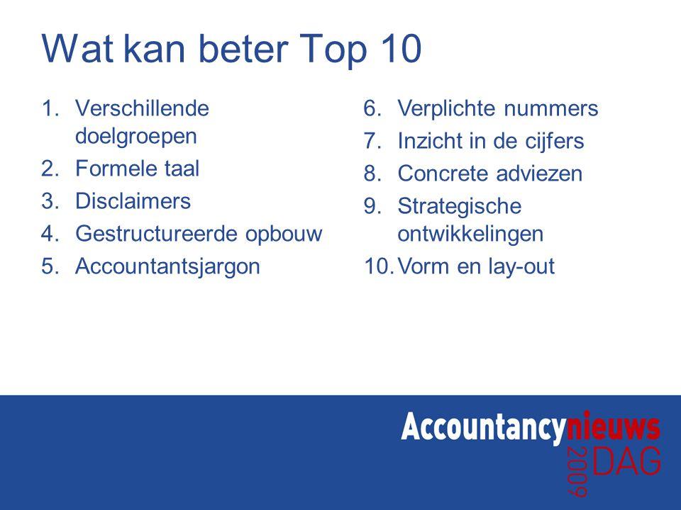 Wat kan beter Top 10 1. Verschillende doelgroepen 2. Formele taal 3. Disclaimers 4. Gestructureerde opbouw 5. Accountantsjargon 6.Verplichte nummers 7