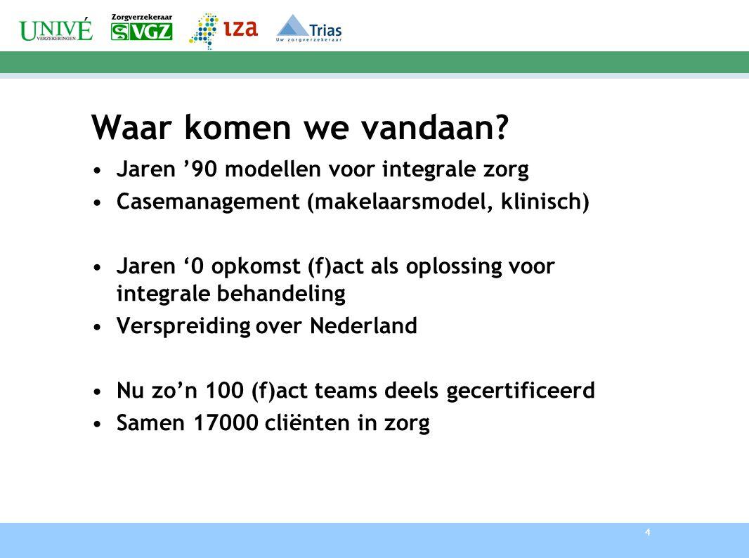 5 Fact Herkend en erkend Opgenomen in richtlijn Spreidt zich uit als olievlek over Nederland Wordt vermeld in de inkoopgids van Zorgverzekeraars Nederland Zorgverzekeraars stimuleren ontwikkeling fact Blijkt ook een oplossing voor jeugd ouderen etc.