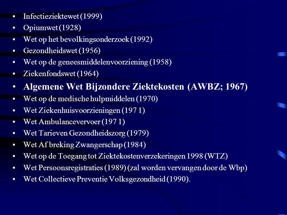 Infectieziektewet (1999) Opiumwet (1928) Wet op het bevolkingsonderzoek (1992) Gezondheidswet (1956) Wet op de geneesmiddelenvoorziening (1958) Ziekenfondswet (1964) Algemene Wet Bijzondere Ziektekosten (AWBZ; 1967) Wet op de medische hulpmiddelen (1970) Wet Ziekenhuisvoorzieningen (197 1) Wet Ambulancevervoer (197 1) Wet Tarieven Gezondheidszorg (1979) Wet Af breking Zwangerschap (1984) Wet op de Toegang tot Ziektekostenverzekeringen 1998 (WTZ) Wet Persoonsregistraties (1989) (zal worden vervangen door de Wbp) Wet Collectieve Preventie Volksgezondheid (1990).