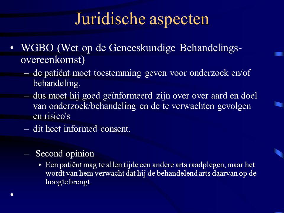 Juridische aspecten WGBO (Wet op de Geneeskundige Behandelings- overeenkomst) –de patiënt moet toestemming geven voor onderzoek en/of behandeling.