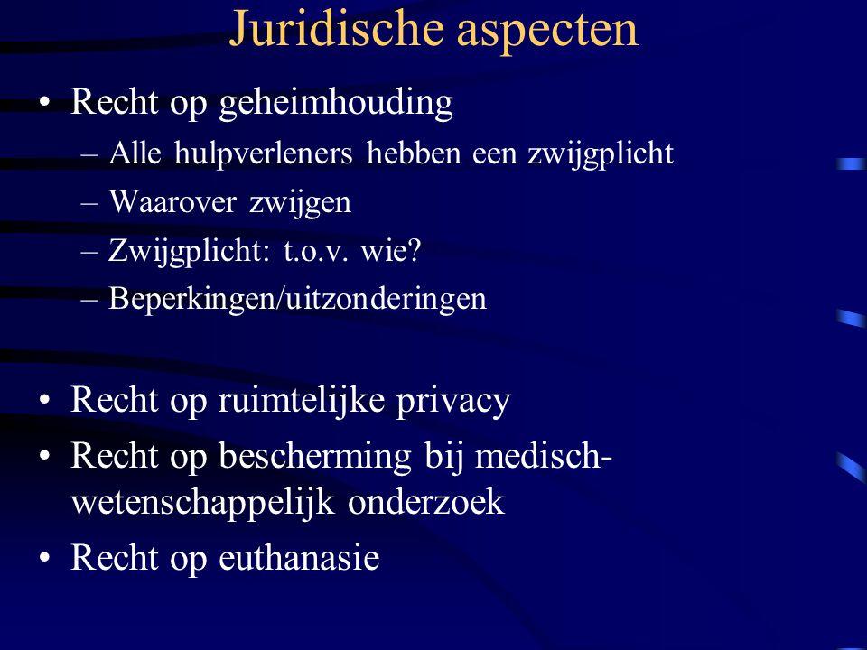 Juridische aspecten Recht op geheimhouding –Alle hulpverleners hebben een zwijgplicht –Waarover zwijgen –Zwijgplicht: t.o.v.