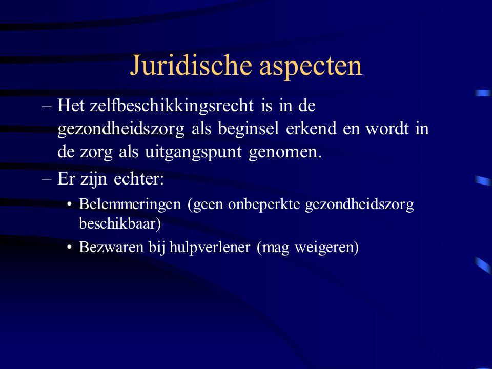 Juridische aspecten Geldend recht –Wetgeving –Jurisprudentie Tuchtrecht Bestuursrecht Civiel recht Strafrecht (bv euthanasie) –Verdragen (bv art.