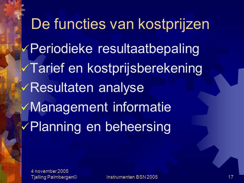 4 november 2005 Tjalling Palmbergen©Instrumenten BSN 200516 Kostenplaatsmethode Doorbelastingen: Directe methode Step down-methode Reciprocal methode Inzichtelijkheid is bepalend voor het gebruik van de informatie