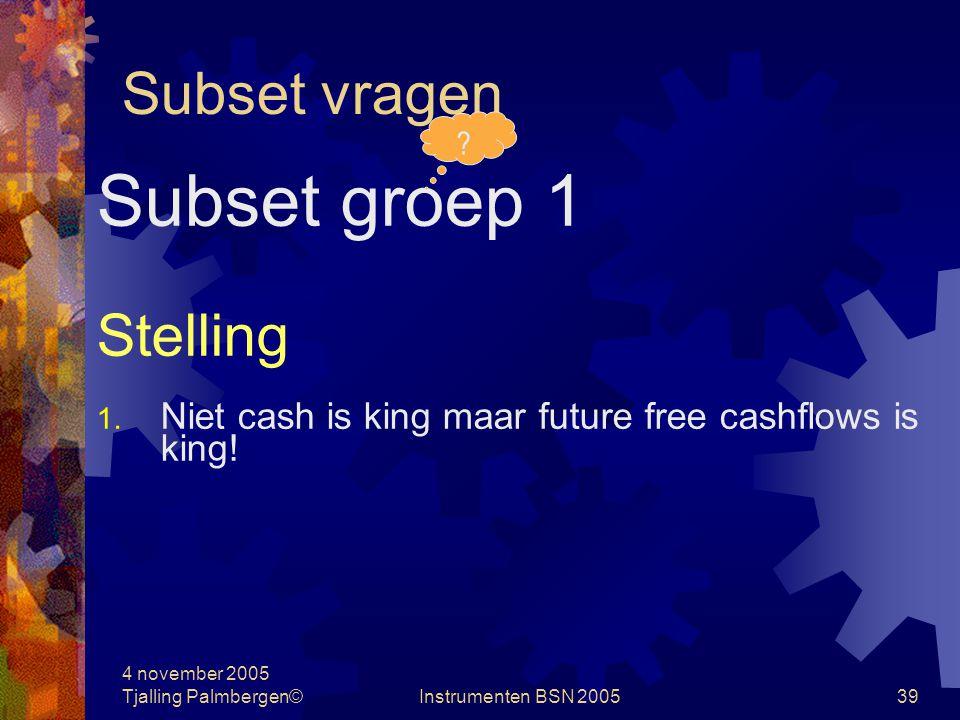 4 november 2005 Tjalling Palmbergen©Instrumenten BSN 200538 Subset vragen Subset groep 1 Vragen 1.