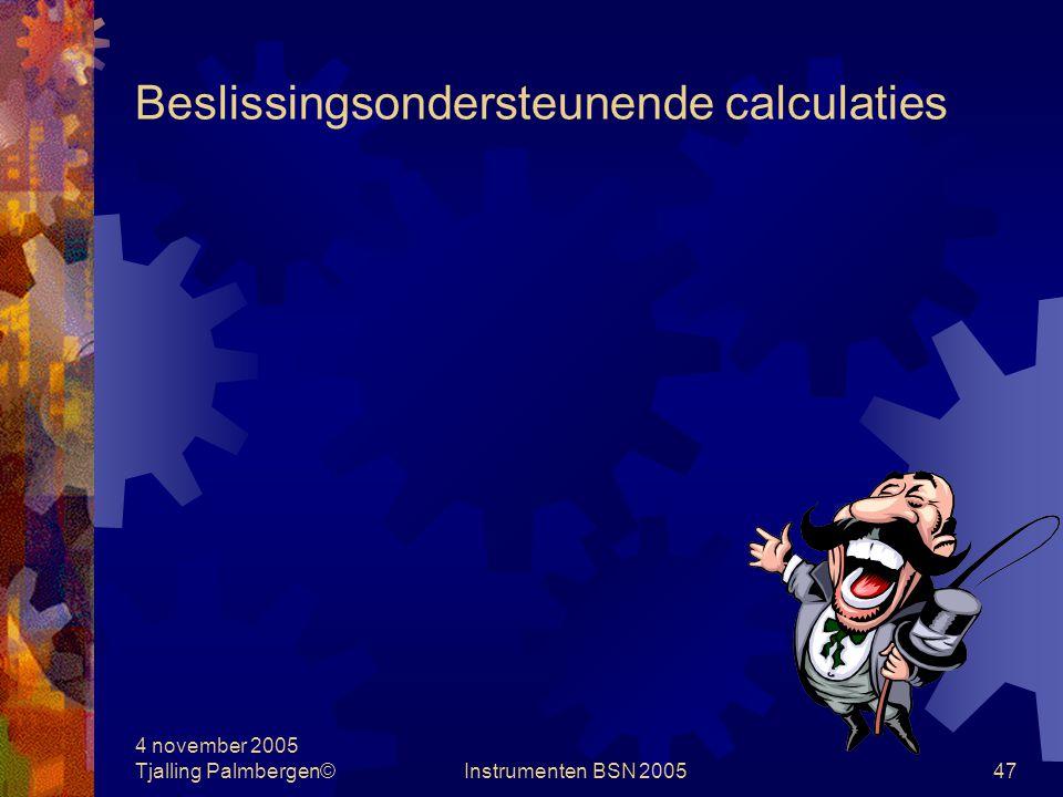 4 november 2005 Tjalling Palmbergen©Instrumenten BSN 200546 Verkoopprijs en assortimentsbeslissingen Overige factoren  Prijszetter / Prijsvolger  Korte termijn / Lange termijn  Bezetting  Opportunity costs  Prijsdiscriminatie/prijsdifferentiatie