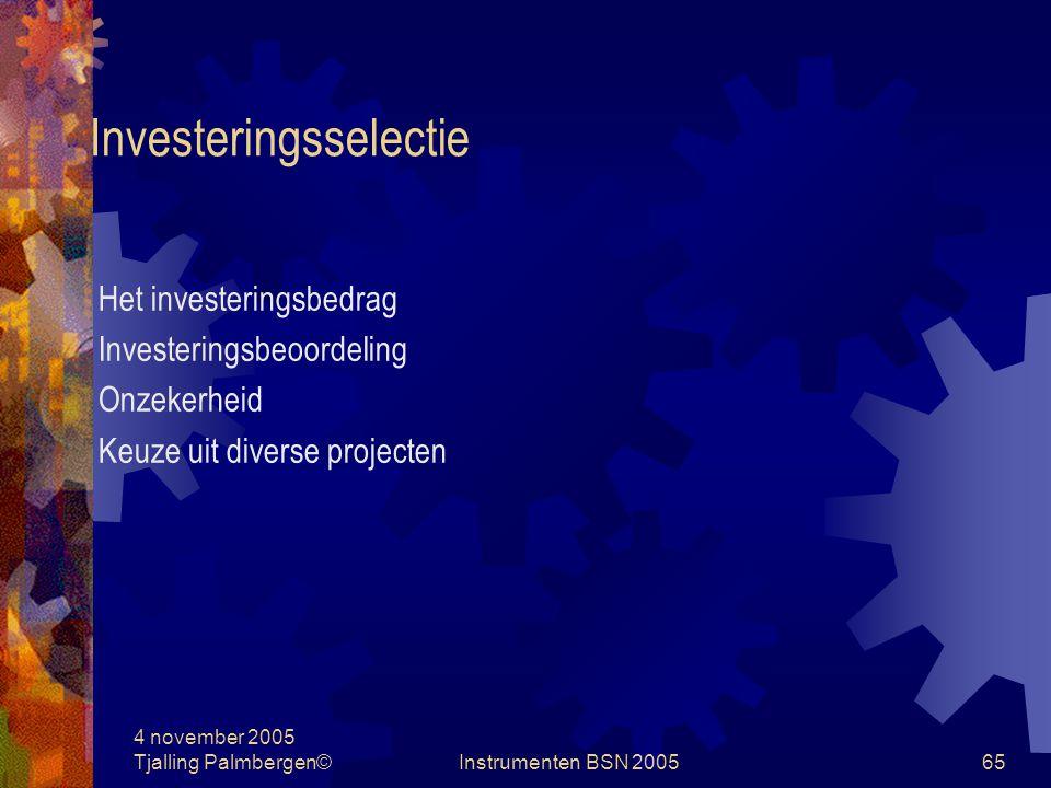 4 november 2005 Tjalling Palmbergen©Instrumenten BSN 200564 Investeringsselectie