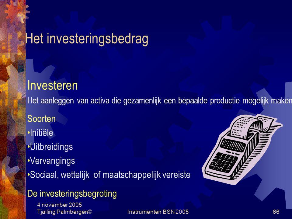 4 november 2005 Tjalling Palmbergen©Instrumenten BSN 200565 Investeringsselectie Het investeringsbedrag Investeringsbeoordeling Onzekerheid Keuze uit diverse projecten