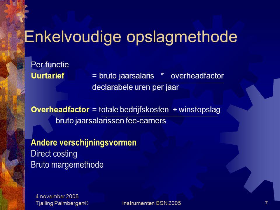4 november 2005 Tjalling Palmbergen©Instrumenten BSN 20056 Kostprijsbepaling Systemen: Enkelvoudige opslagmethode Meervoudige opslagmethode Kostenplaatsmethode