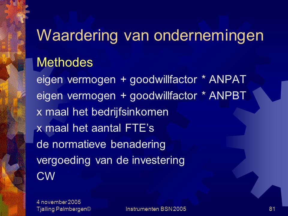 4 november 2005 Tjalling Palmbergen©Instrumenten BSN 200580 Waardering van ondernemingen Financiële performance uit het verleden Indicatie voor toekomstige opbrengsten
