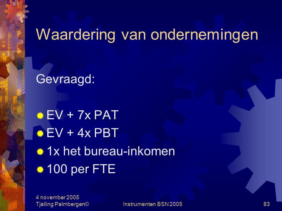 4 november 2005 Tjalling Palmbergen©Instrumenten BSN 200582 Waardering van ondernemingen Case: waardering Bedragen in € 1.000  bedrijfsinkomen1.000  kosten800-/-  PBT200  tax 40%80-/-  PAT120  eigen vermogen200  FTE's10